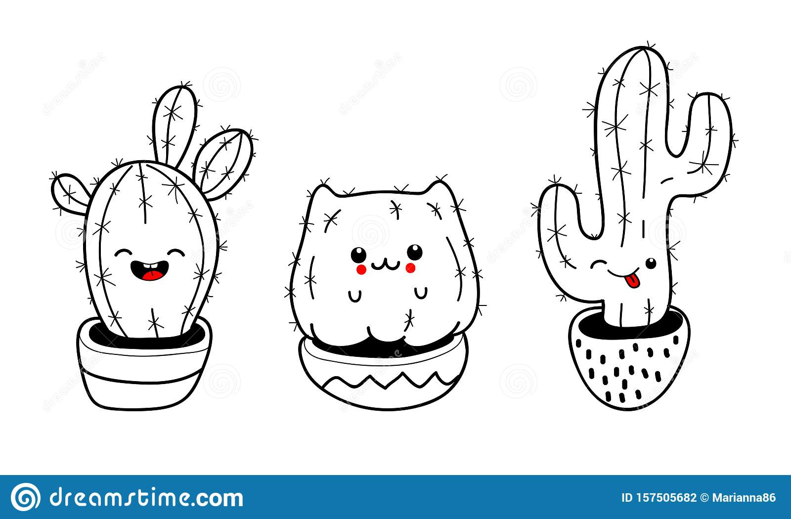 Set Of Cute Cartoon Cactus With Funny Kawaii Faces In Pots Vector Illustration Stock Vector Illustration Of Succulent Drawing 157505682