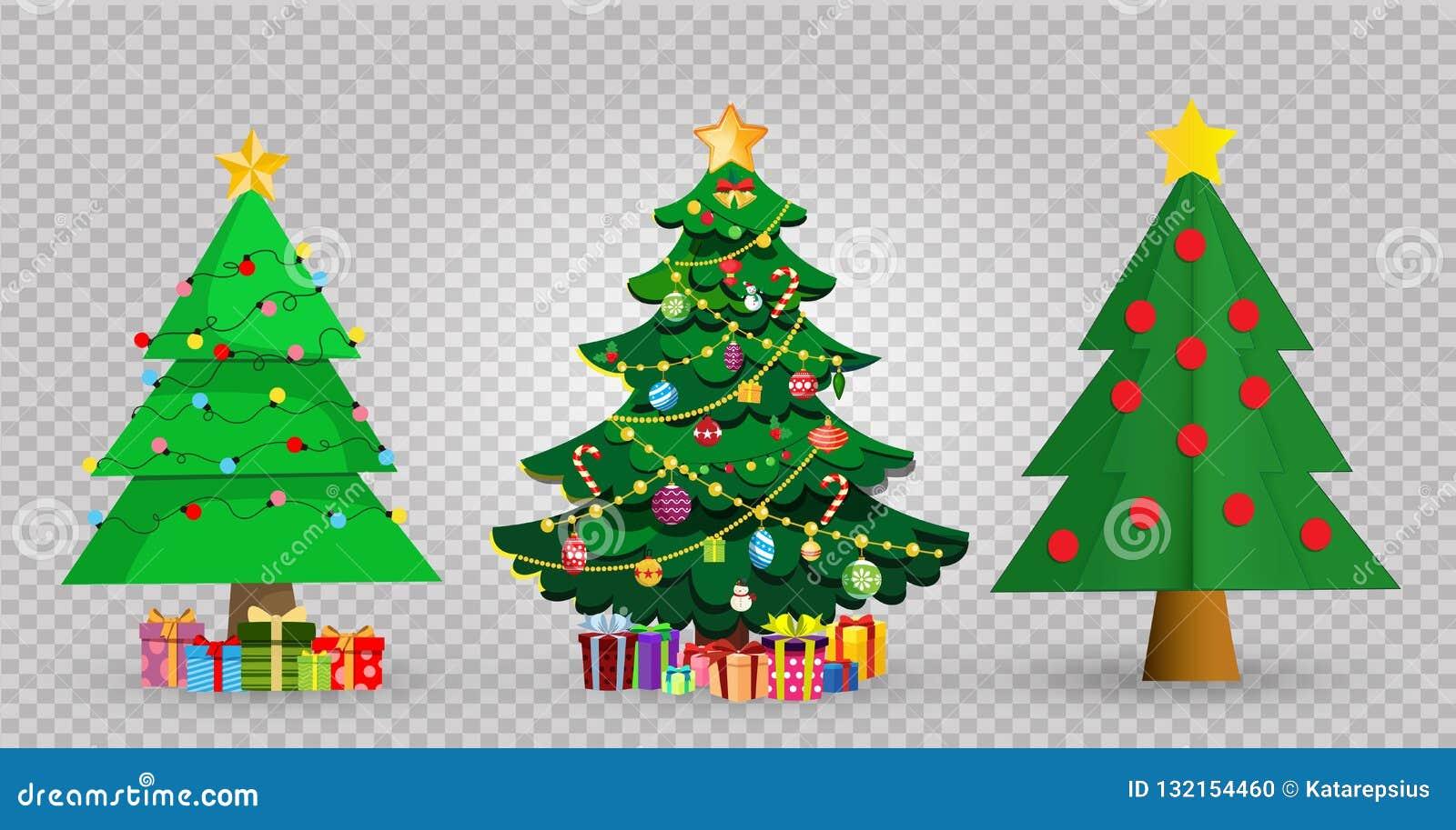 Christmas Tree Transparent Background.Set Of Cute Cartoon Christmas Fir Trees On Transparent