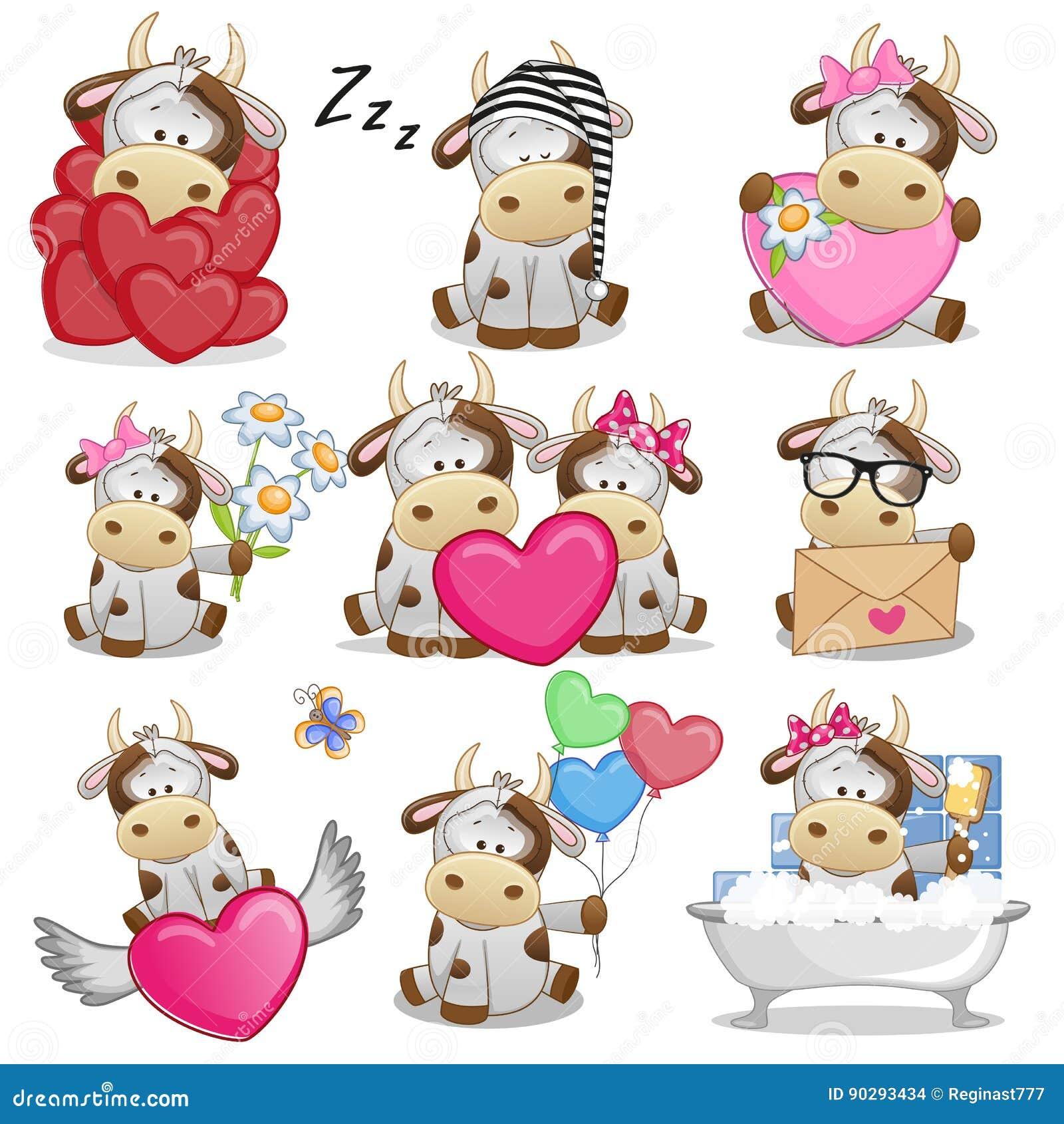 Set of Cute Cartoon Cow