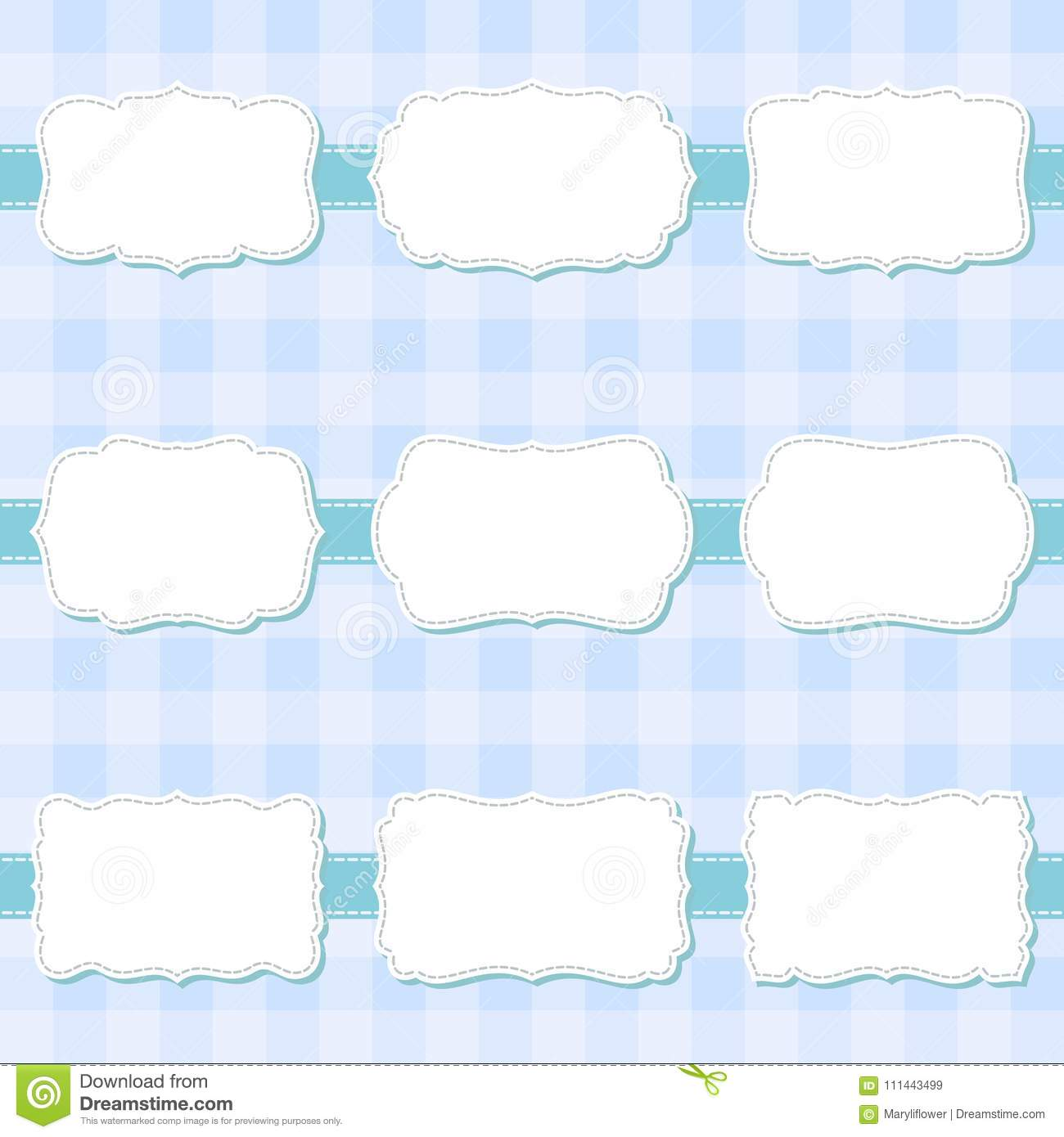 Set of cute cartoon decorative sewing blank frames. Shape labels for baby shower, banner, sticker, scrapbook template.