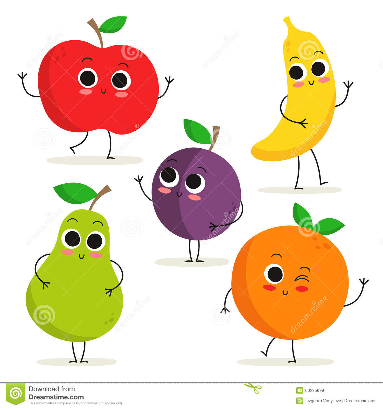 Cartoon 5 Characters : Set of cute cartoon fruit characters on white stock
