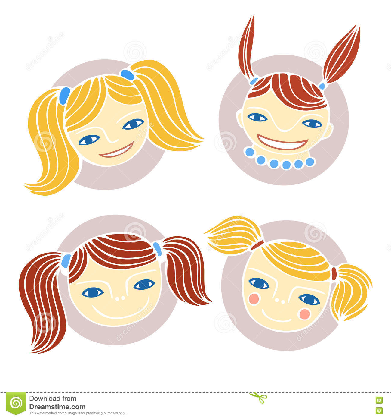 set of cute cartoon girl s faces colorful vector illustration
