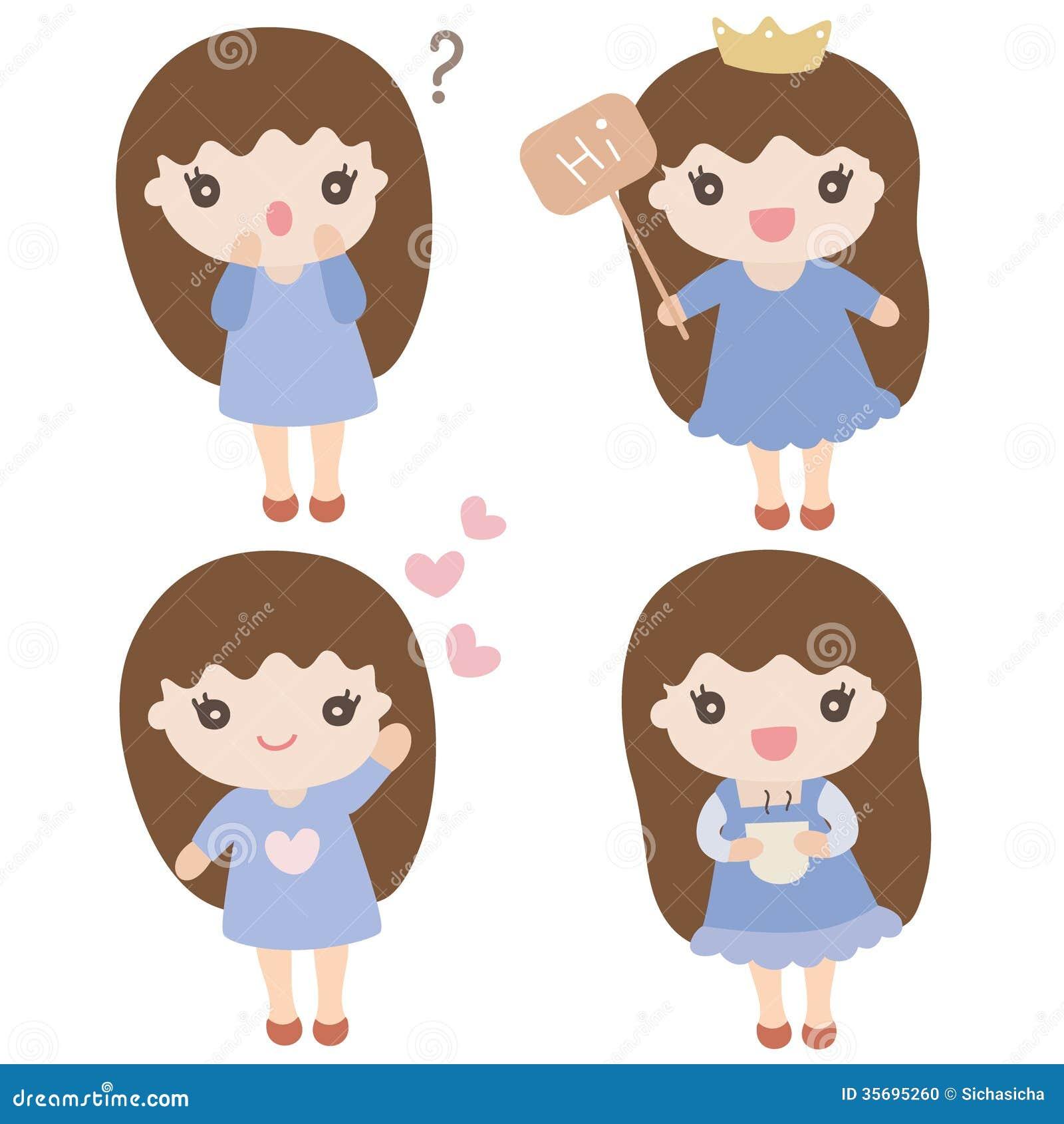 set of cute cartoon girls in various poses stock vector