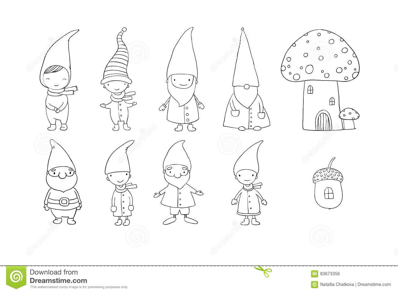 set of cute cartoon gnomes funny elves hand drawing objects on