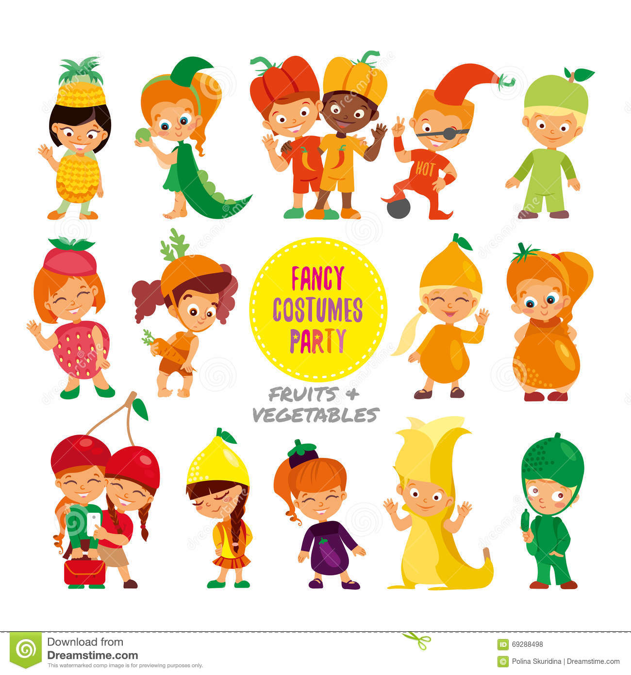 set of cute cartoon kids in fruits and vegetables fancy costumes - Download Free Kids Cartoon