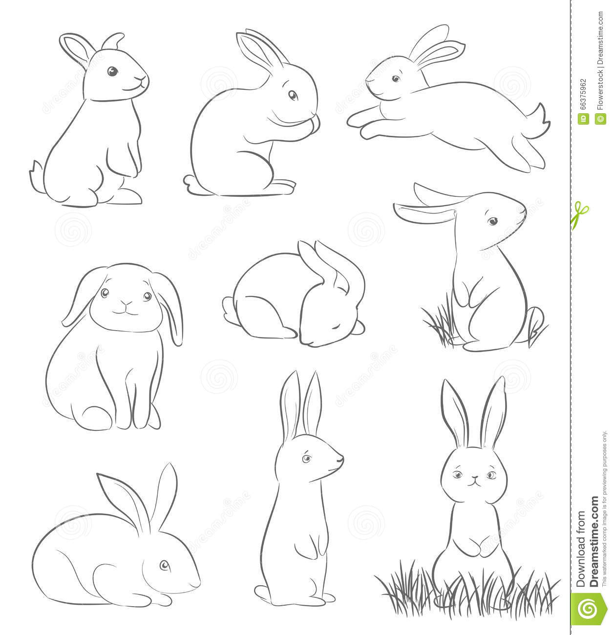 Line Drawing Bunny : Set of cute cartoon rabbits stock vector illustration