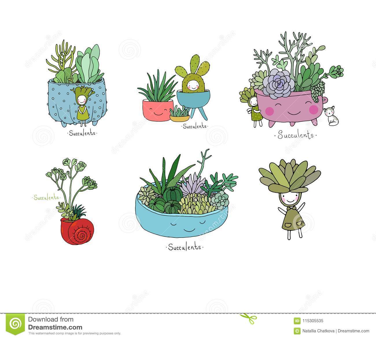 Set with cute cartoon succulents.