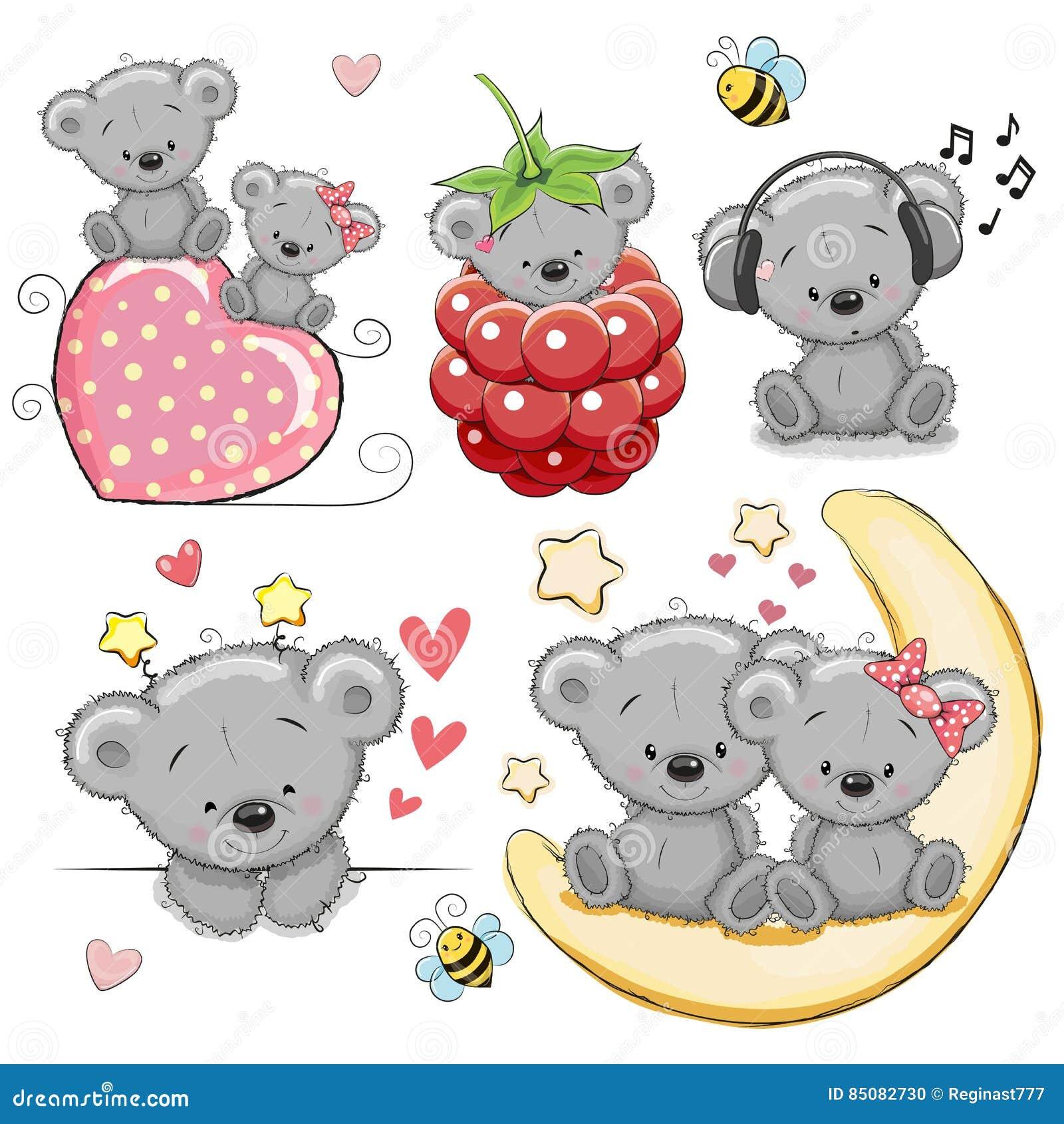 Set of Cute Cartoon Teddy Bear