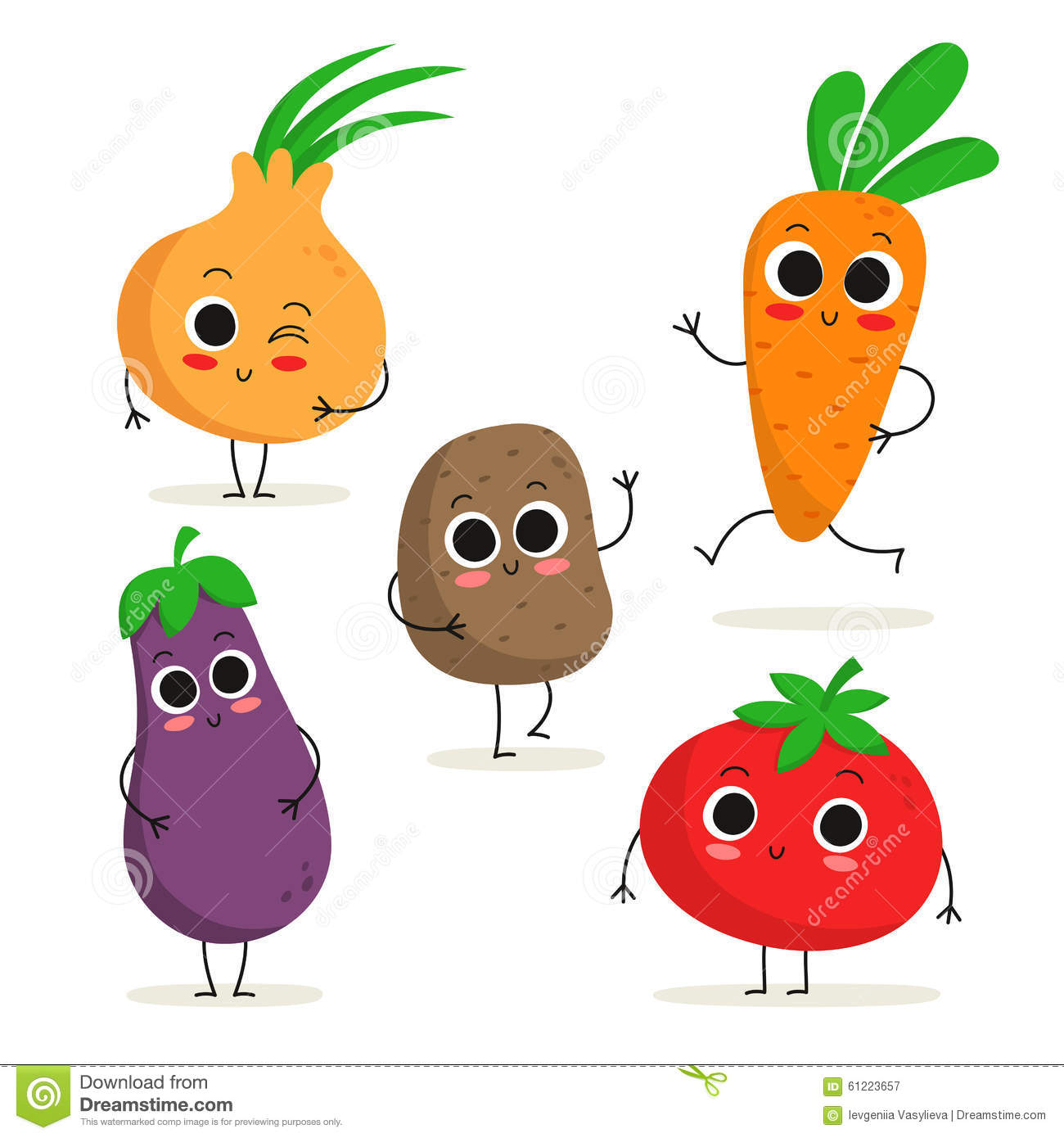 Cartoon 5 Characters : Set of cute cartoon vegetable characters isolated on