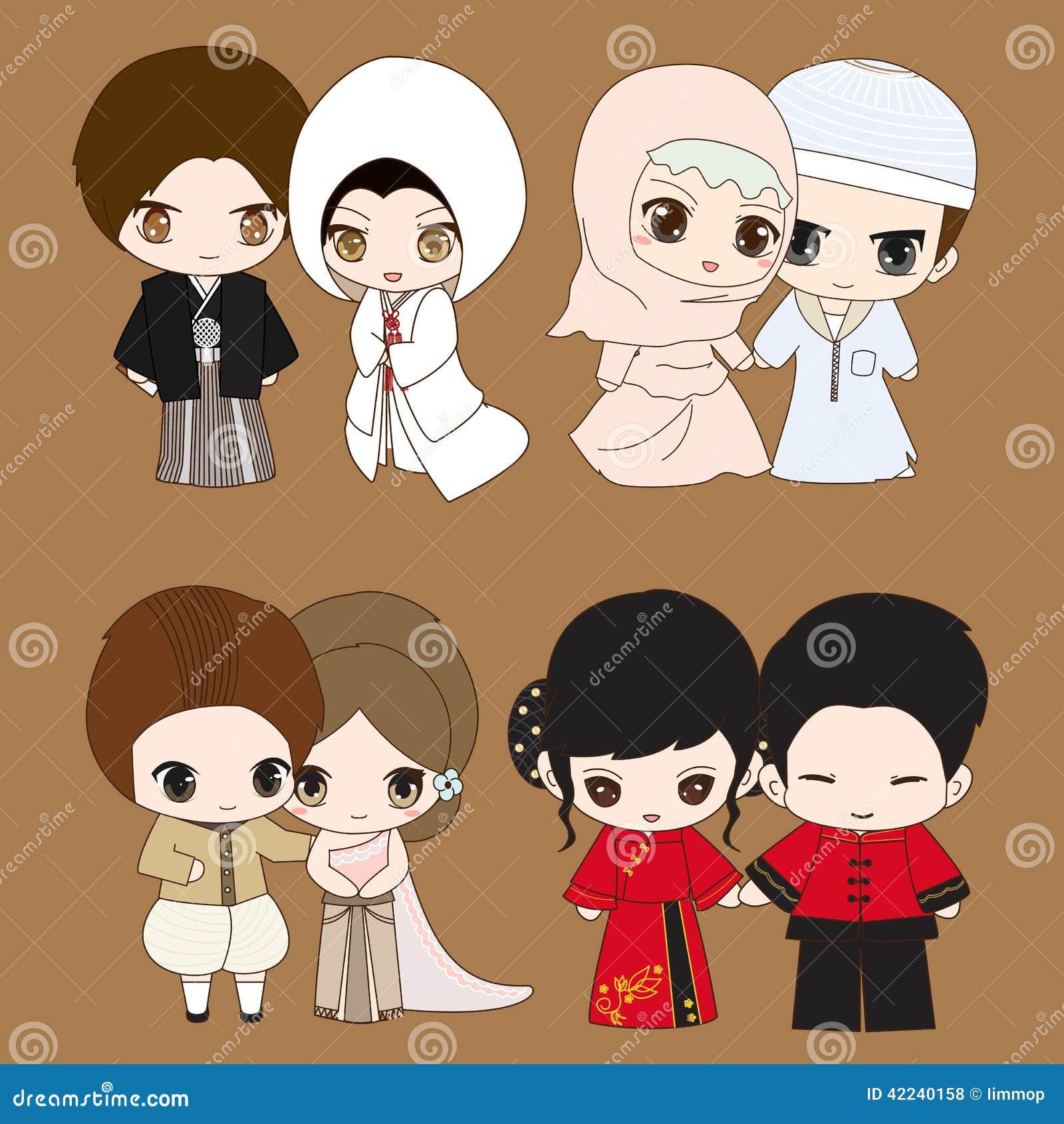 Set Of Cute Cartoon Wedding Dress Stock Vector