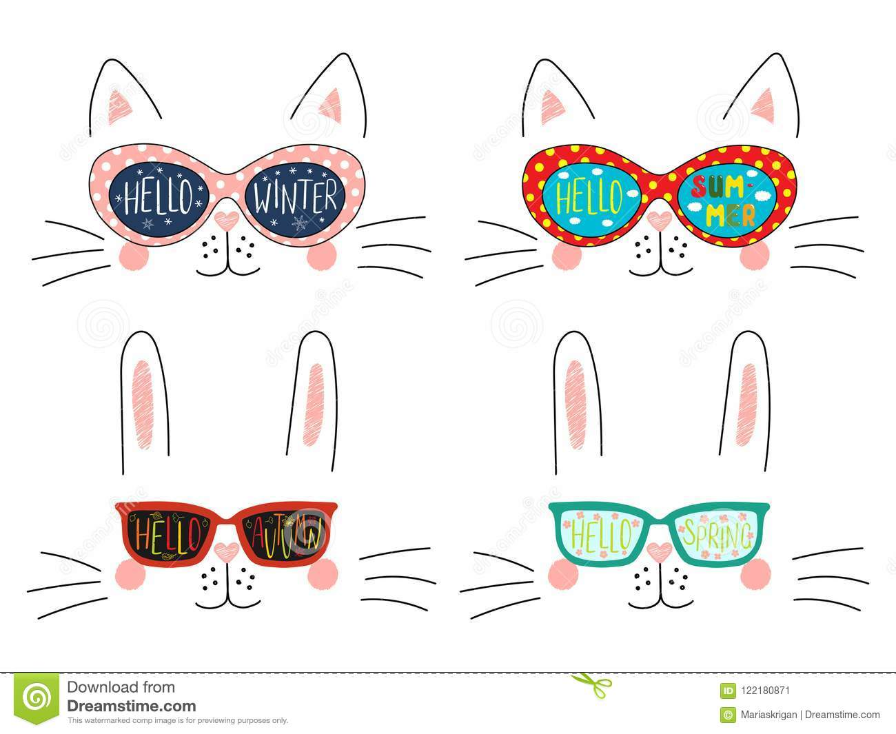 Four Seasons Cute Cat Bunny Faces Set Stock Vector Illustration