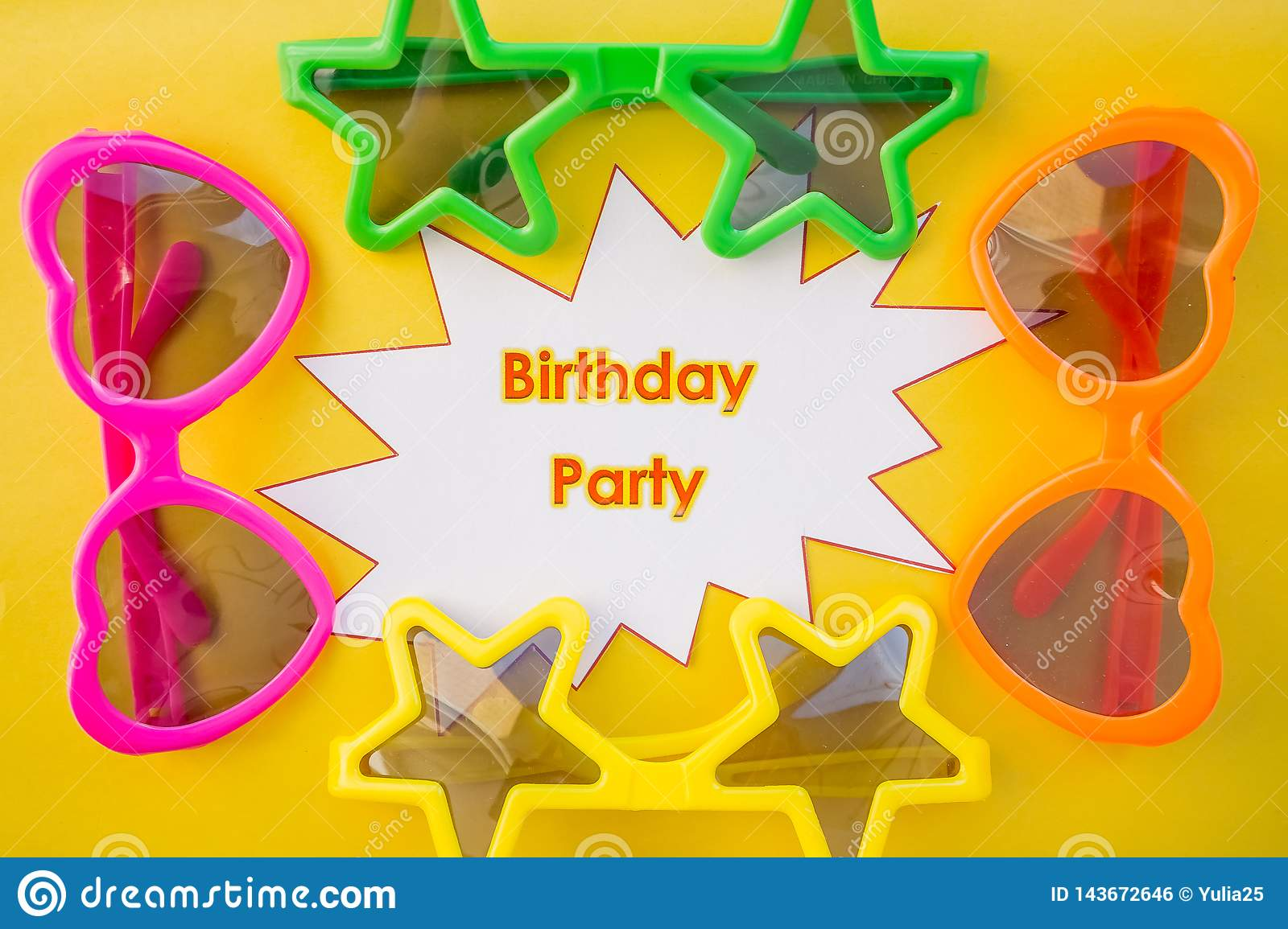 Set of cute celebratory sunglasses saying happy birthday.Birthday party concept. Funny sunny glasses on yellow