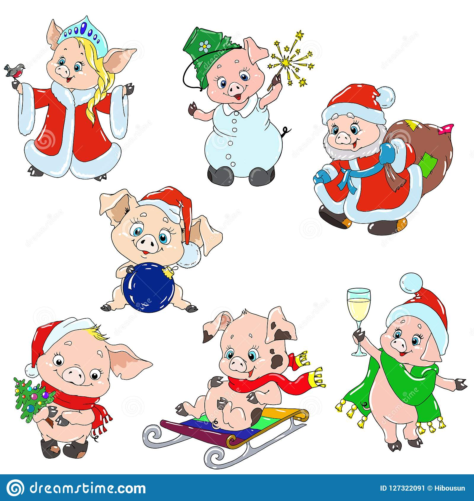 A Set Of Cute Characters For The New Year. Christmas Characters ...