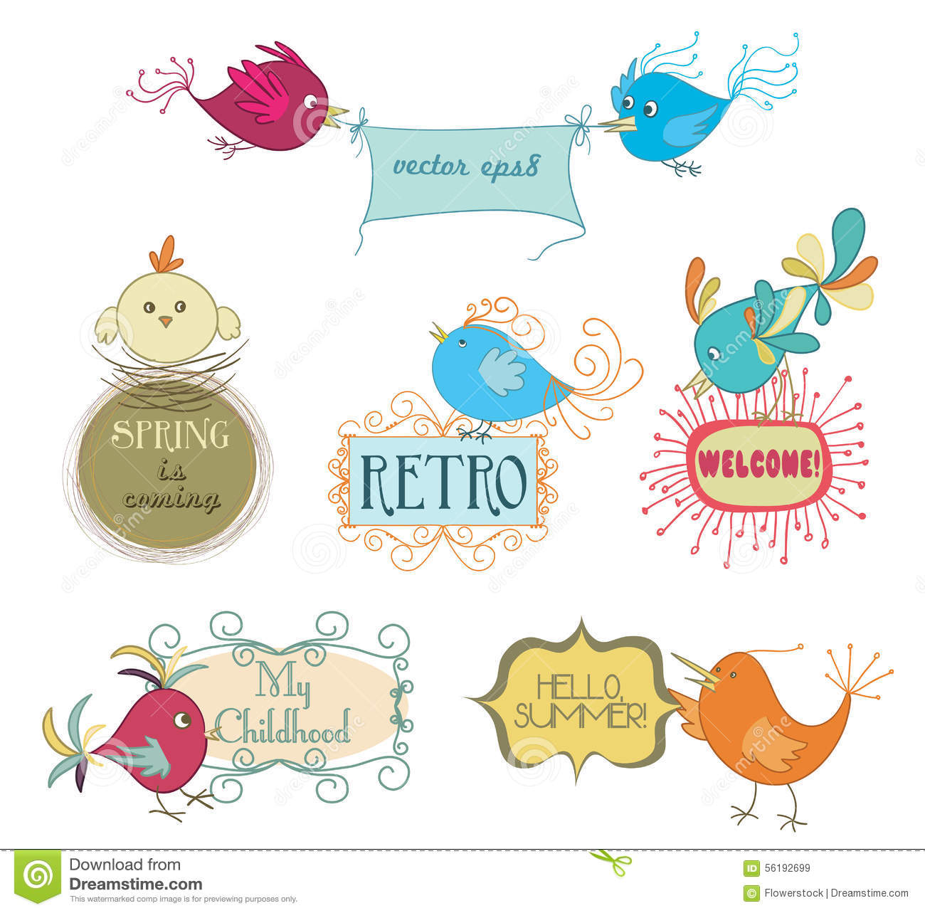 Set Of Cute Childish Birds And Stylish Frames With Slogans Stock ...