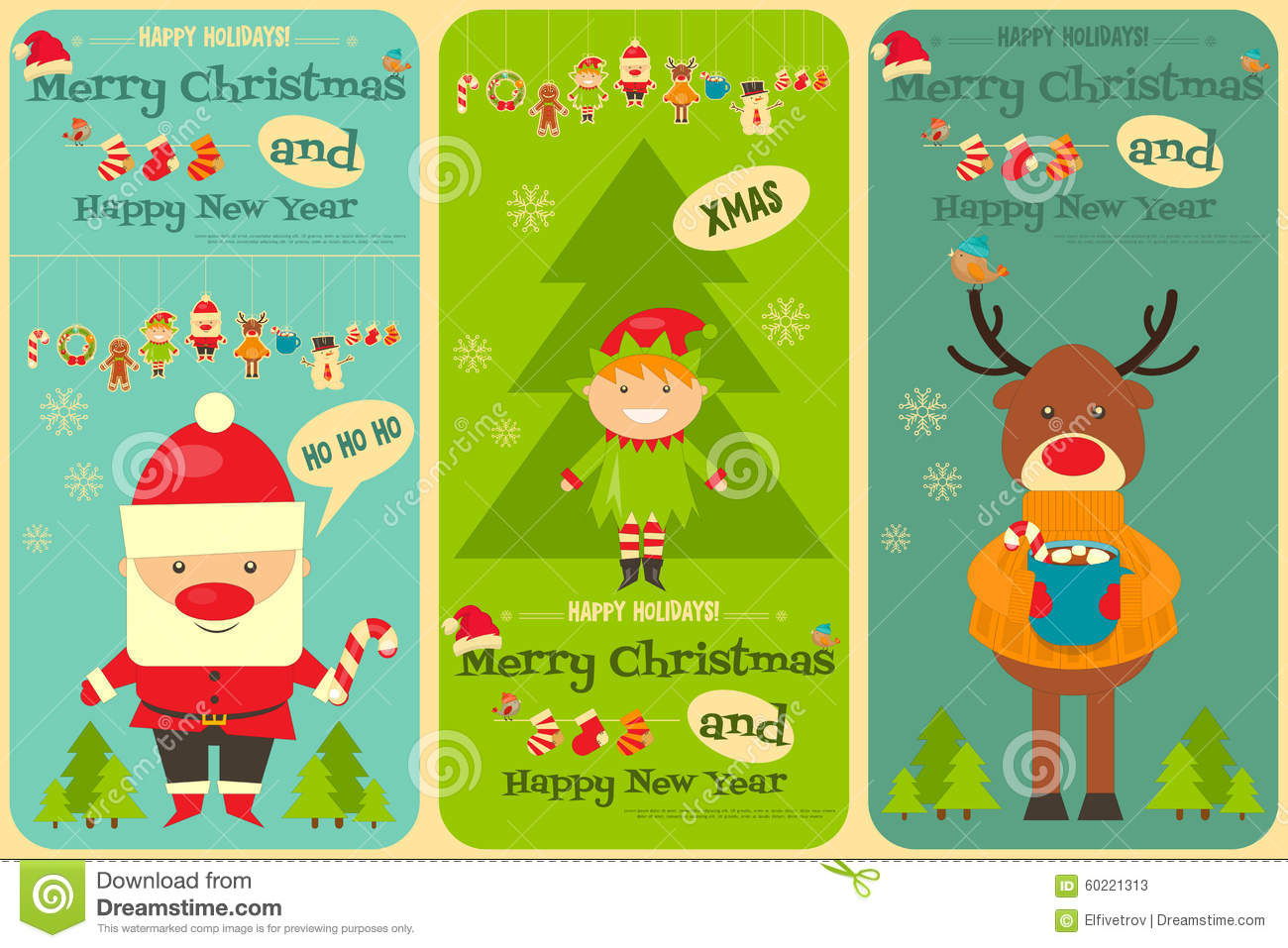 Set of cute christmas cards stock vector illustration of element set of cute christmas cards kristyandbryce Gallery