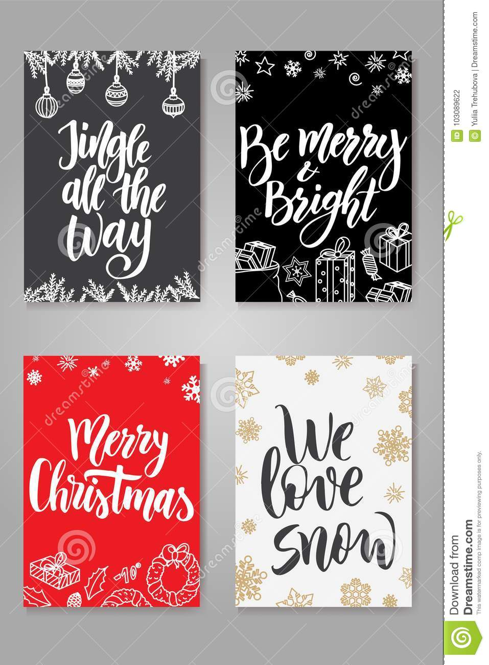 Christmas Gift Card Poster.Set Of Cute Christmas Cards Posters Collection Vector