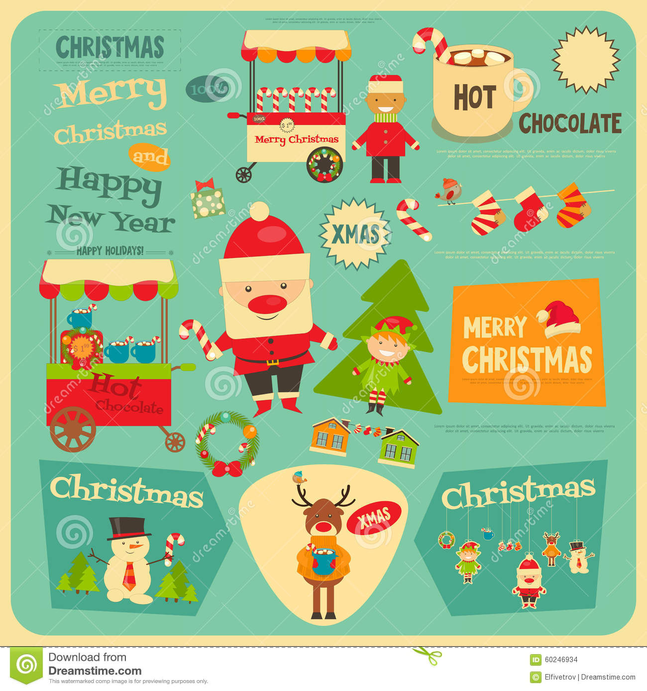 Set Of Cute Christmas Stickers Stock Vector - Illustration of deer ...