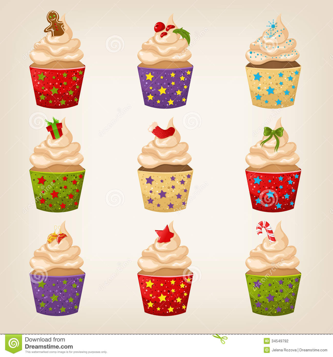 Set Of Cute Christmas Cupcakes Stock Photography Image