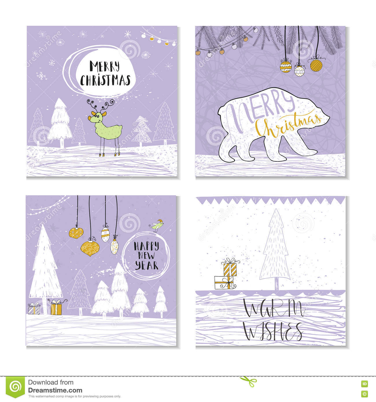 Set Of 4 Cute Christmas Gift Cards With Quote Stock Vector Illustration Of Doodle Postcard 80845073