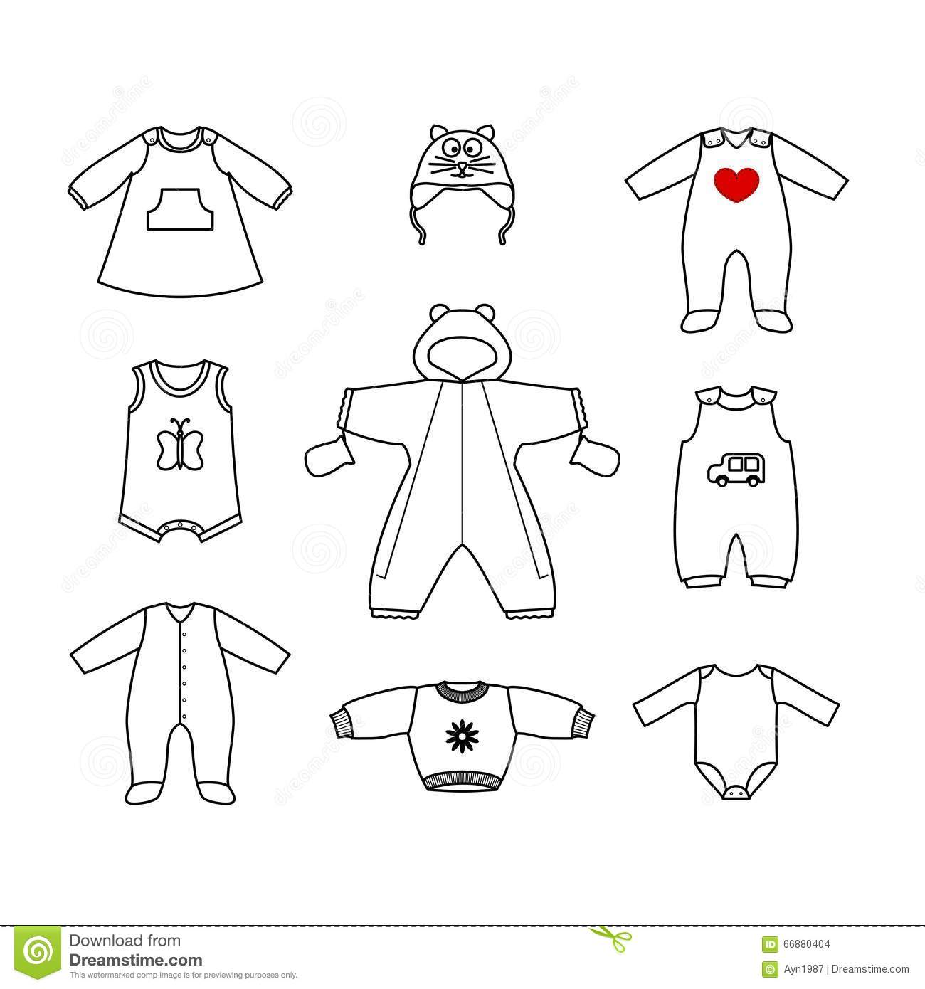 Set Of Cute Clothes For The Little Baby. Collection Of ...