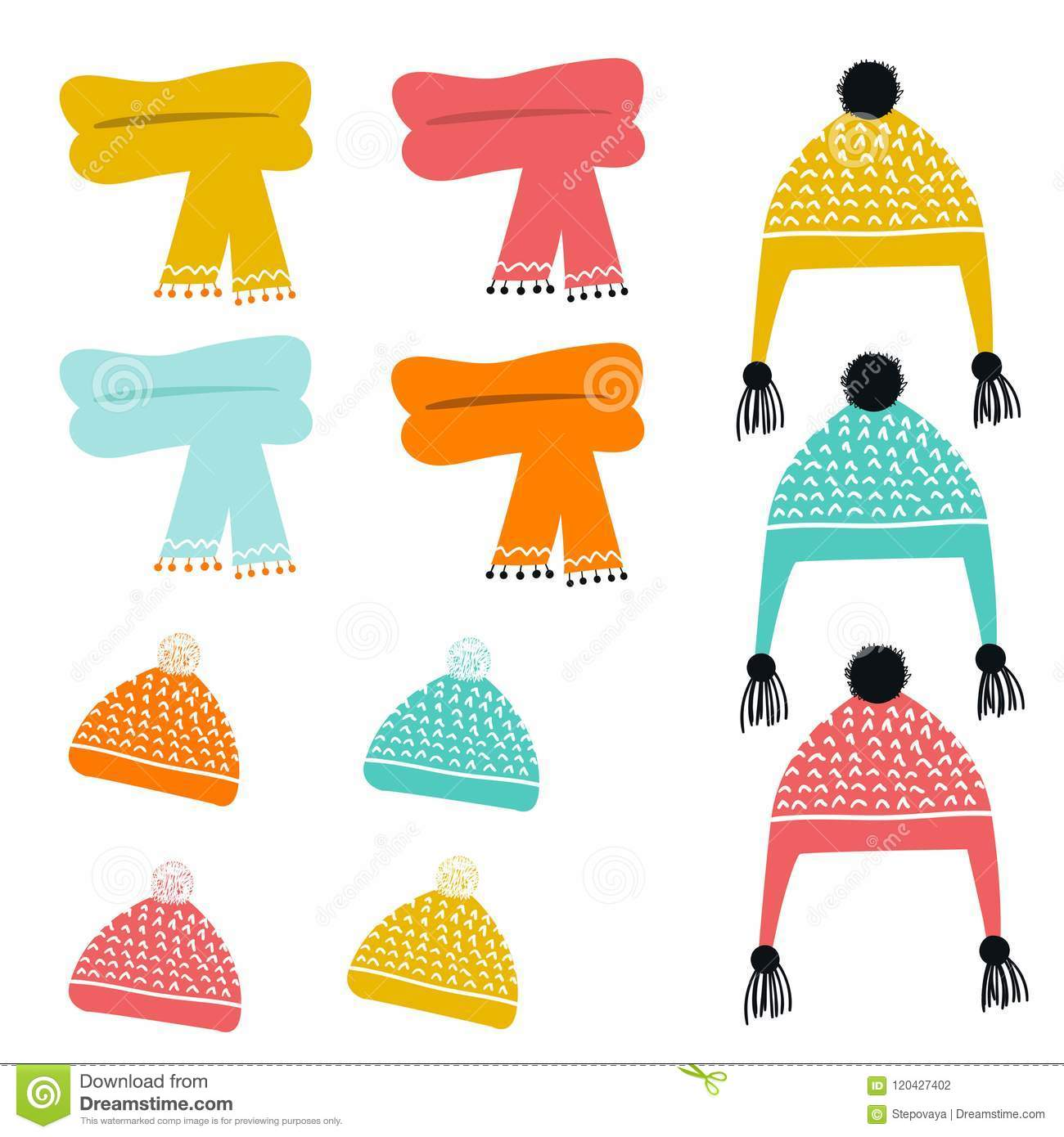 Set Of Cute Color Hand Drawn Winter Hats And Scarves Collection Of Cartoon Clothes Vector Illustration Stock Illustration Illustration Of Black Child 120427402