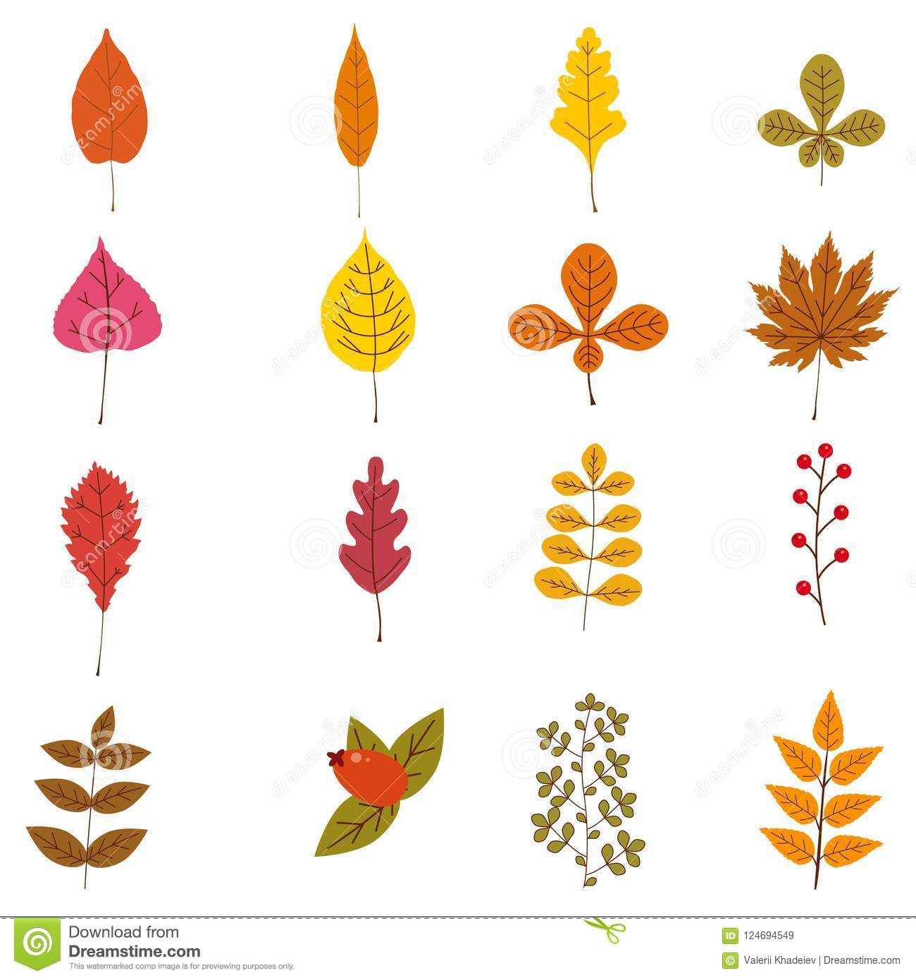 Set Of Cute Colorful Autumn Leaves And Berries Yellow Orange Red Brown Colors Isolated On White Background Simple Stock Vector Illustration Of Botany Hand 124694549