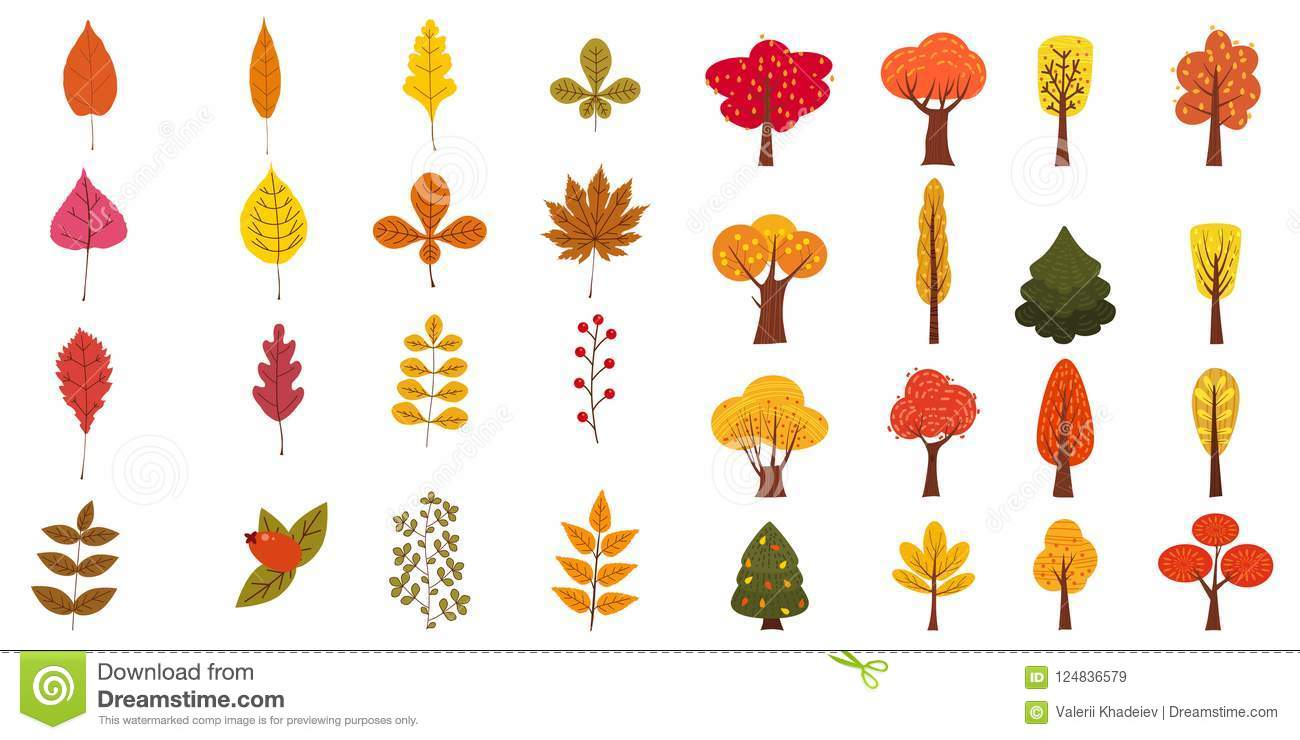 Set Of Cute Colorful Autumn Leaves Trees And Berries Yellow