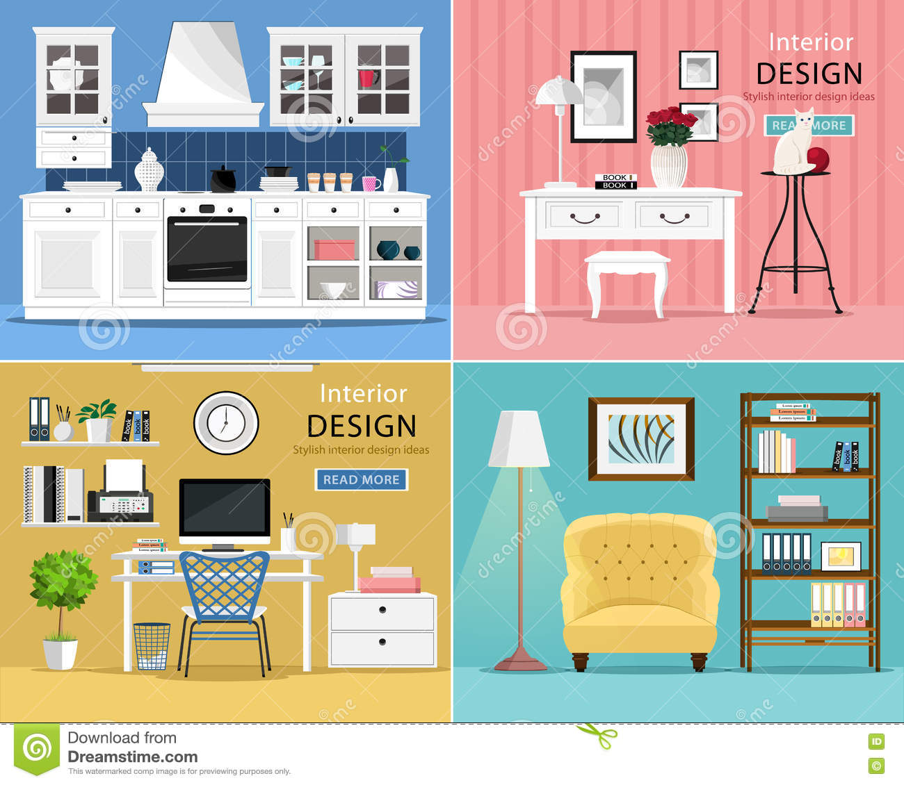 Set of cute and colorful graphic interior design room for Graphic design interior design