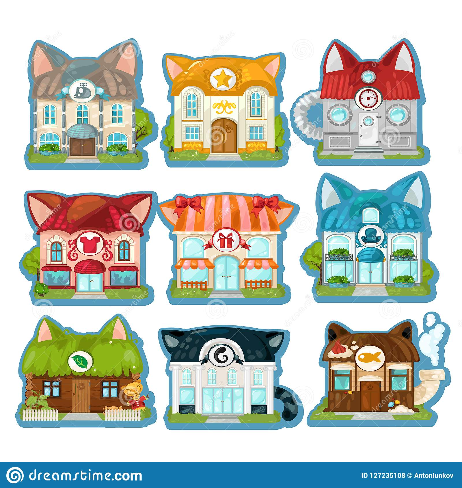 Set Of Cute Colorful Houses In The Style Of Cats Isolated On