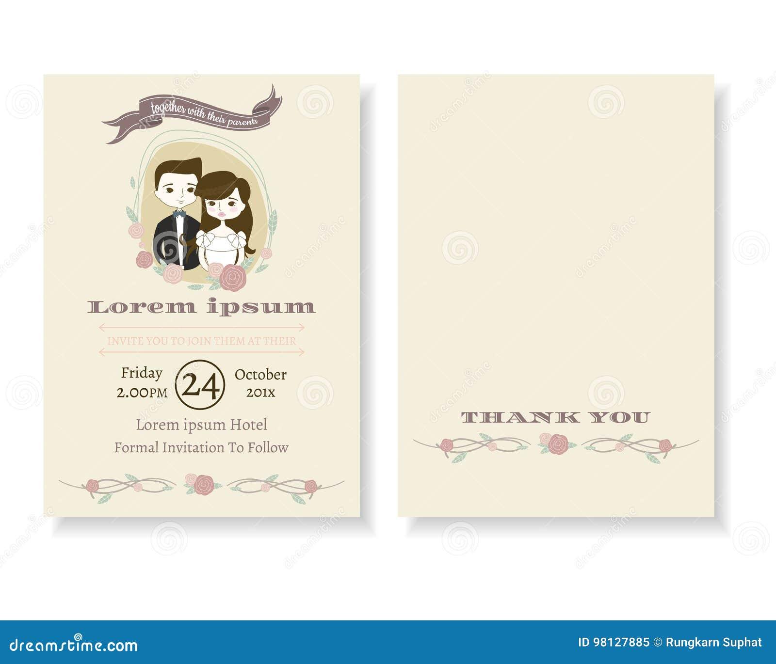 Set Of Cute Couple Cartoon Wedding Invitation Card. Modern Doodle
