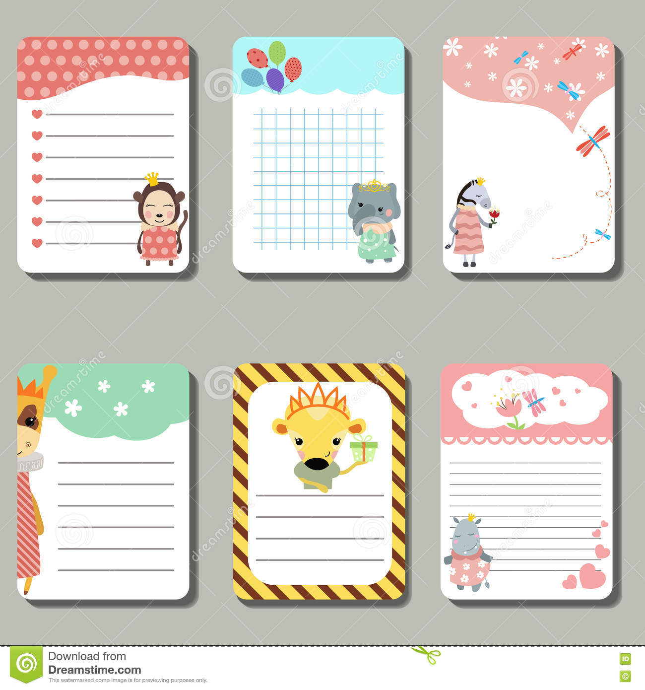 set of cute creative cards animals dressed as princess stock set of cute creative cards animals dressed as princess