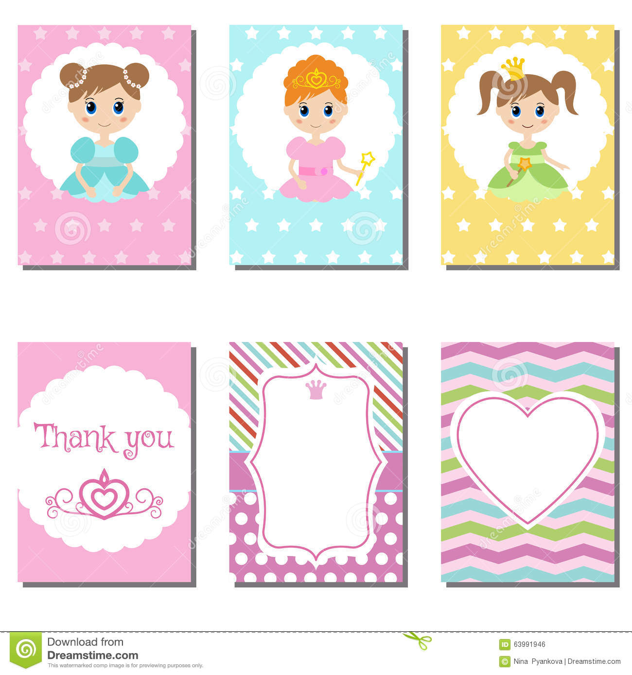 set of cute creative cards princess theme design stock set of cute creative cards princess theme design