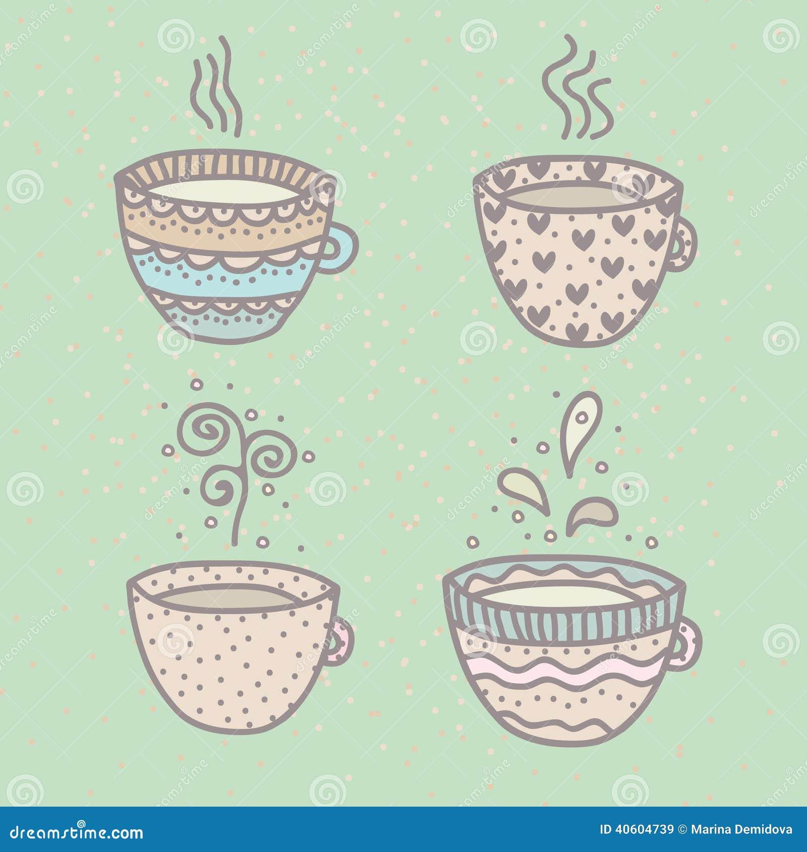 Set of cute cups