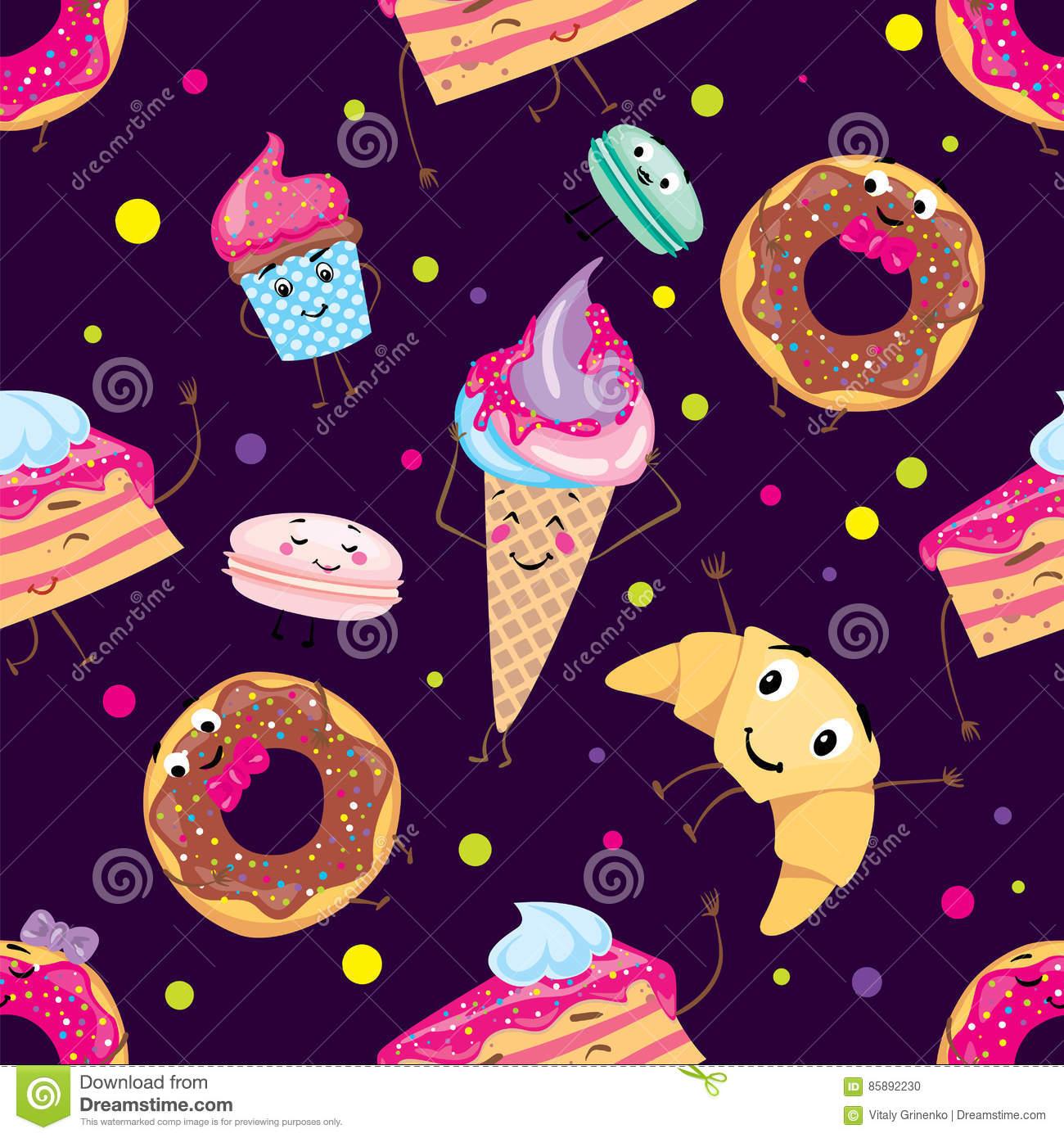 Set of cute desserts. Donuts, muffins, pasta, coffee, tea, cup, cake, ice creams and a croissant. Smiling sweets. Characters.