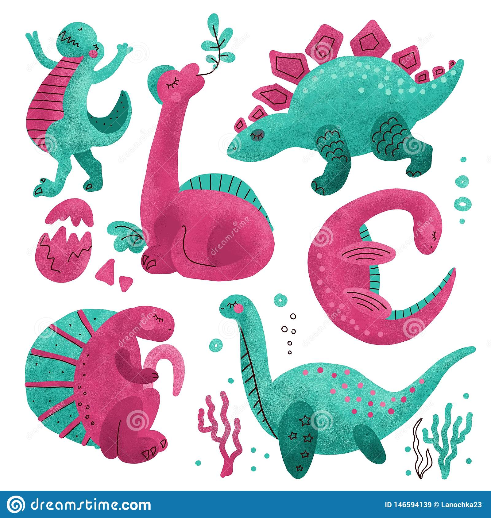 Set of 5 Cute dinosaur color hand drawn textured characters. Dino flat handdrawn clipart. Sketch jurassic reptile.Brachiosaurus.