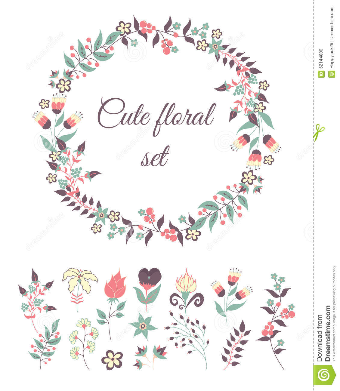 Set Of Cute Doodle Flowers Stock Vector Image 62144800