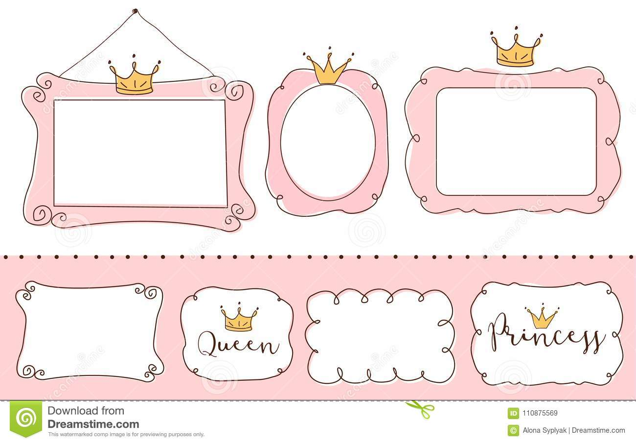 Set Of Cute Doodle Mirrors Princess Element Of Design Pink