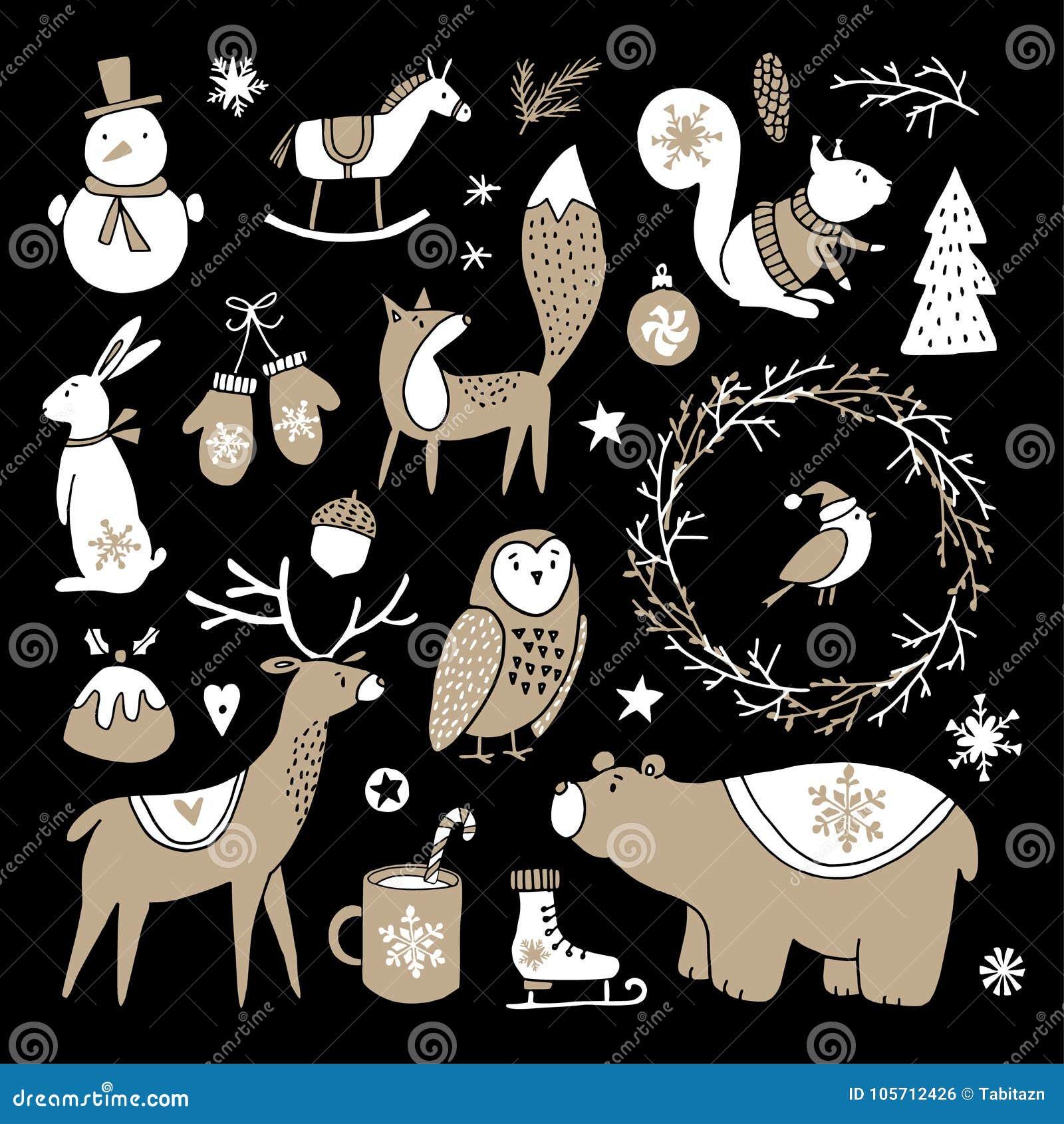 Set of cute doodle sketches. Christmas clip-arts of bear, bunny, reindeer, fox, owl, squirrel and snowman. Scandinavian