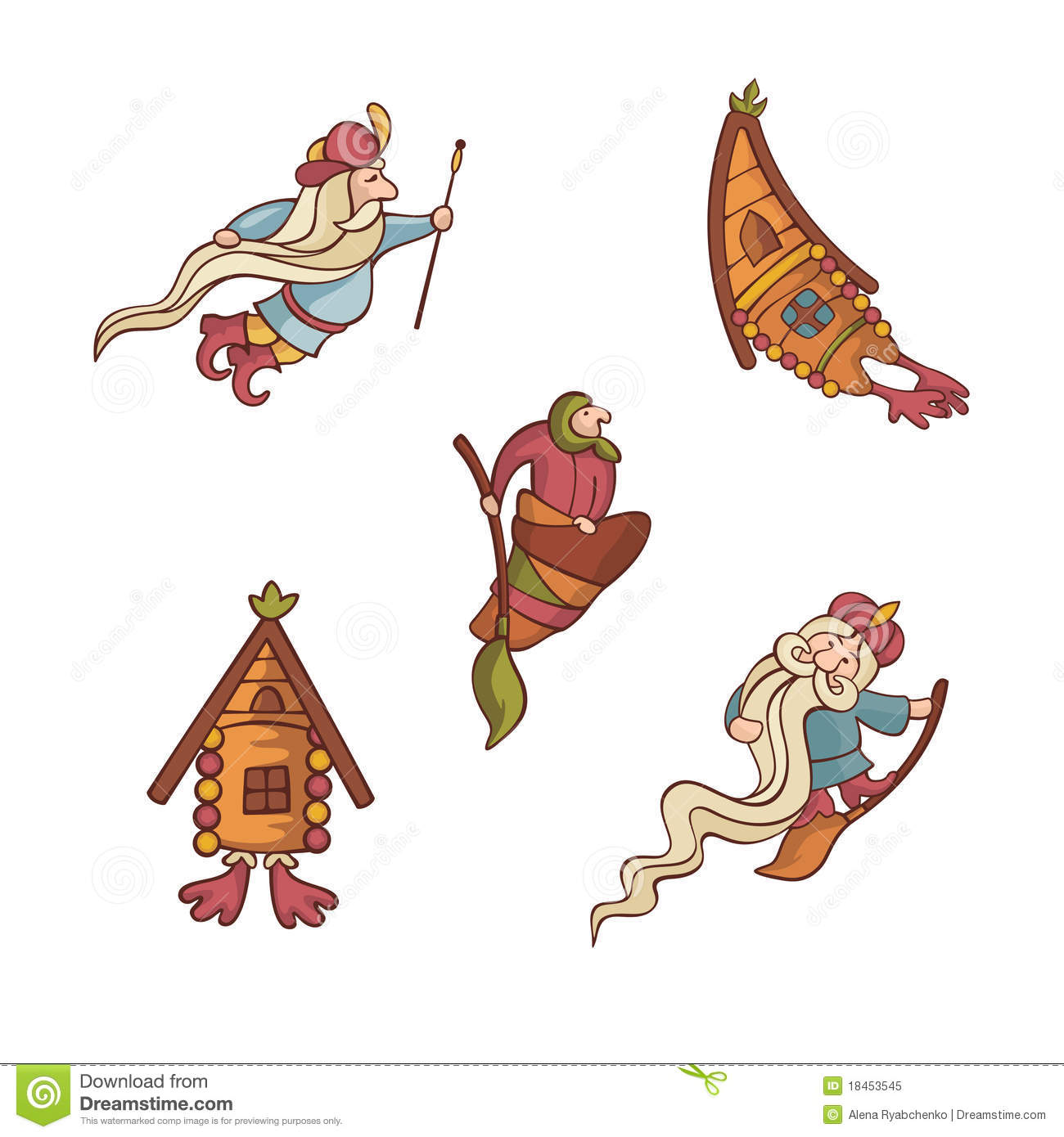 Fairytale Settings: Set Of Cute Fairytale Characters Royalty Free Stock Photo