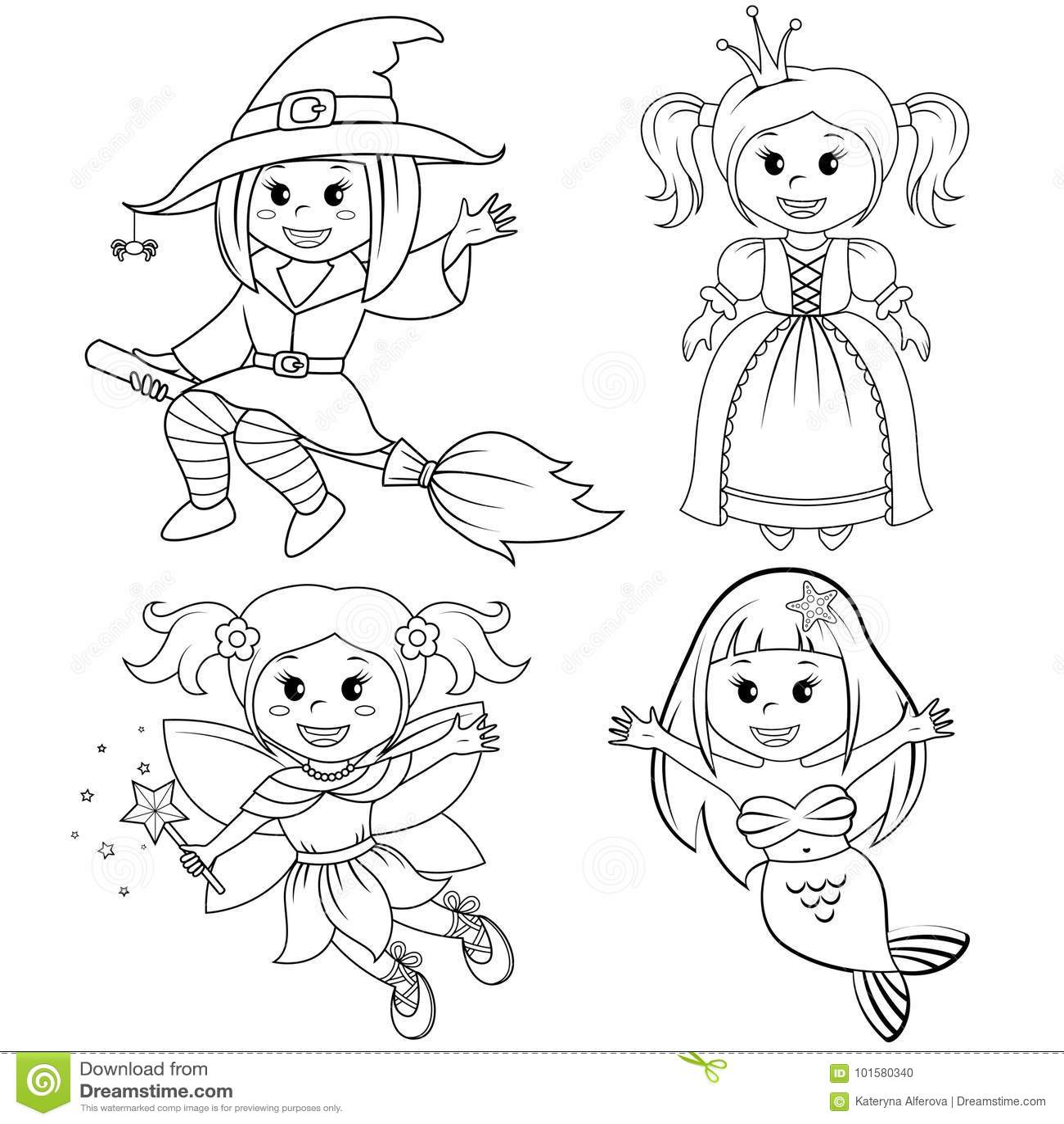 Set Of Cute Fairytale Girls Halloween Witch Mermaid