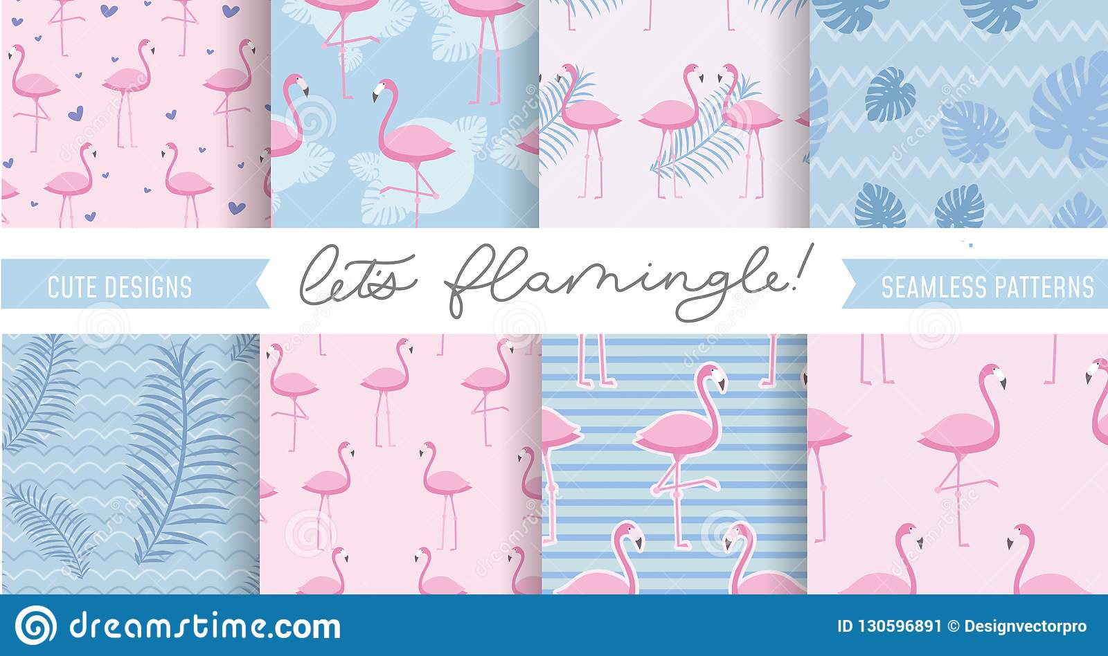 Set of cute flamingo and tropical patterns. Seamless pattern designs for textile, posters etc. Vector illustration