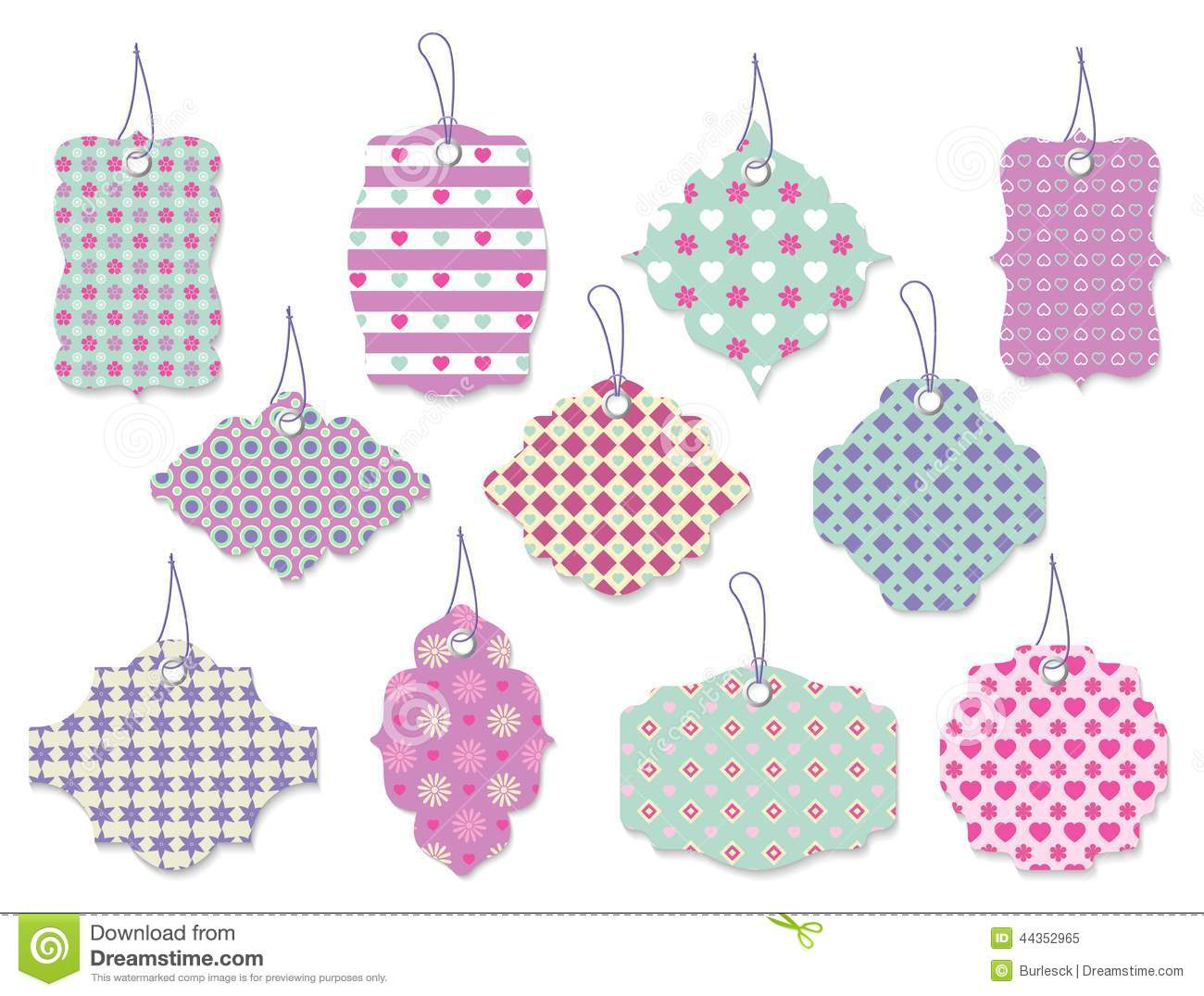 Set Of Cute Floral Tags And Labels With Hearts Stock Vector