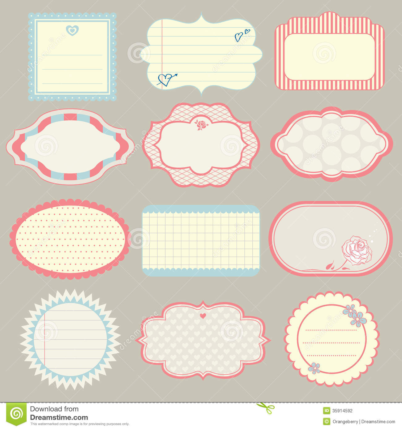 Set Of Cute Frames Stock Photography - Image: 35914592: www.dreamstime.com/stock-photography-set-cute-frames-vector...