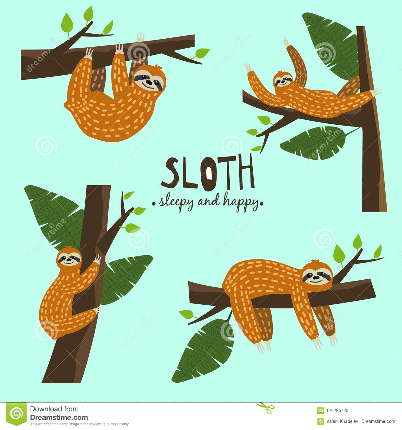 Set Cute funny sloth hanging on the tree. Sleepy and happy. Adorable hand drawn cartoon animal illustration. Vector cute