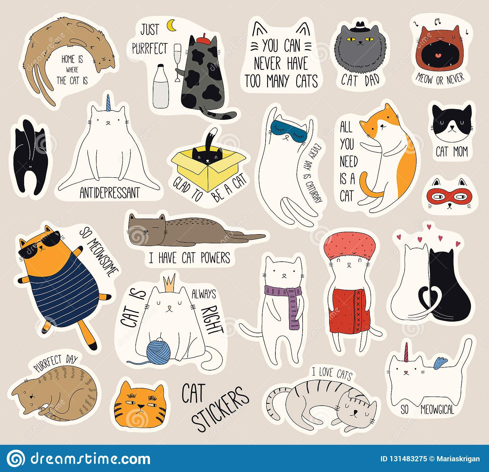 Set Of Cute Funny Stickers With Color Doodles Of Different Cats With
