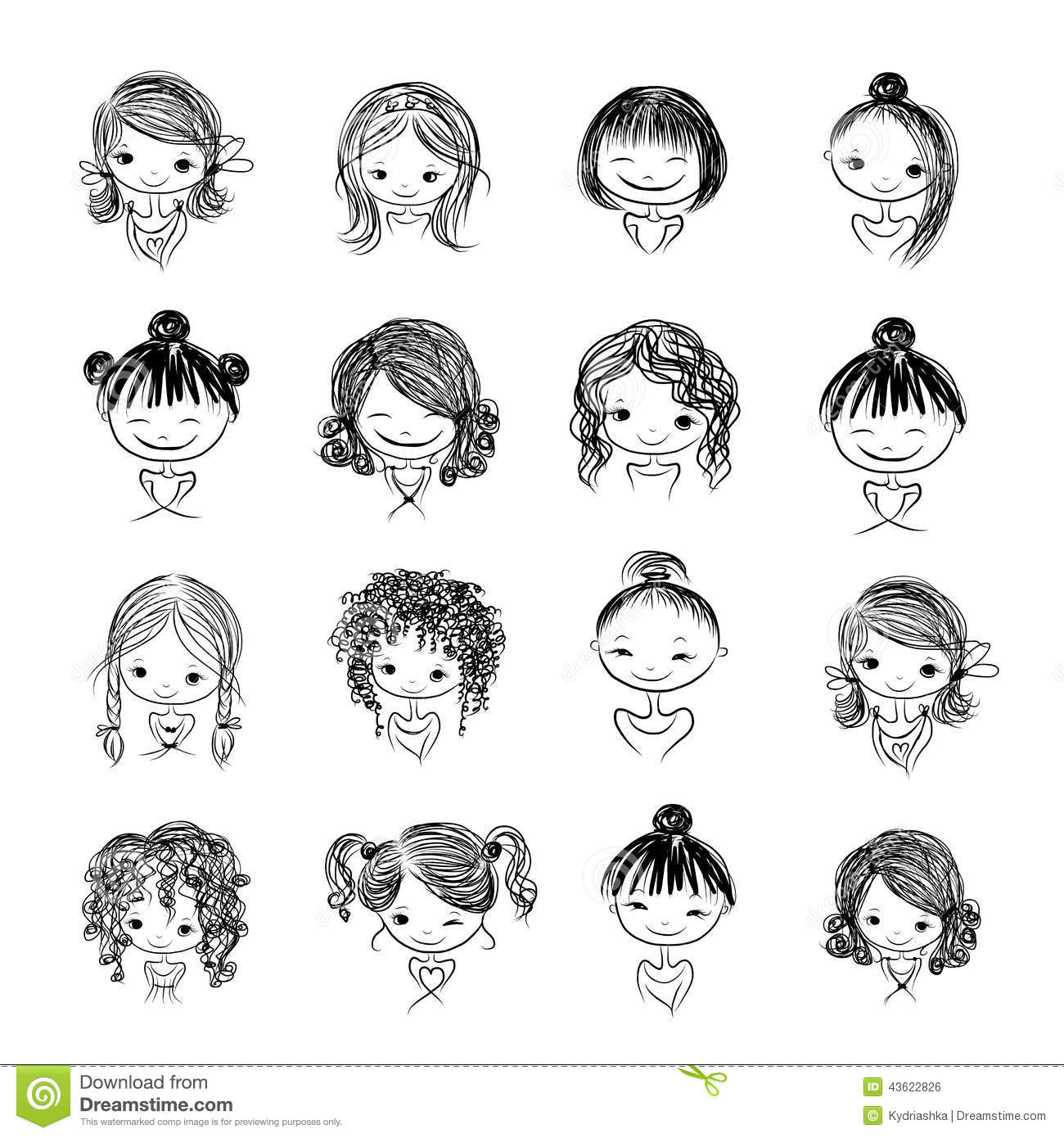 Cartoon Character Design Vector : Set of cute girl characters cartoon for your stock vector