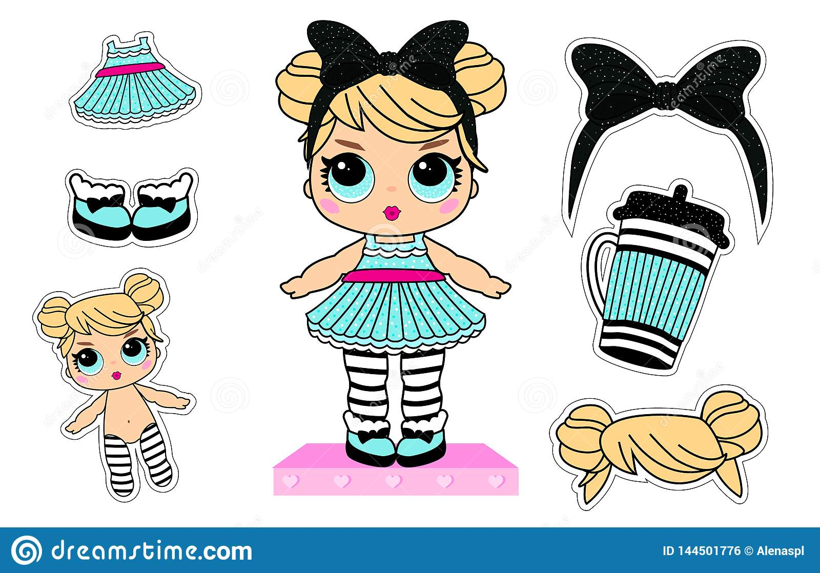 Set of cute girlish vector stickers for lol surprise party. Doll`s style element of design.
