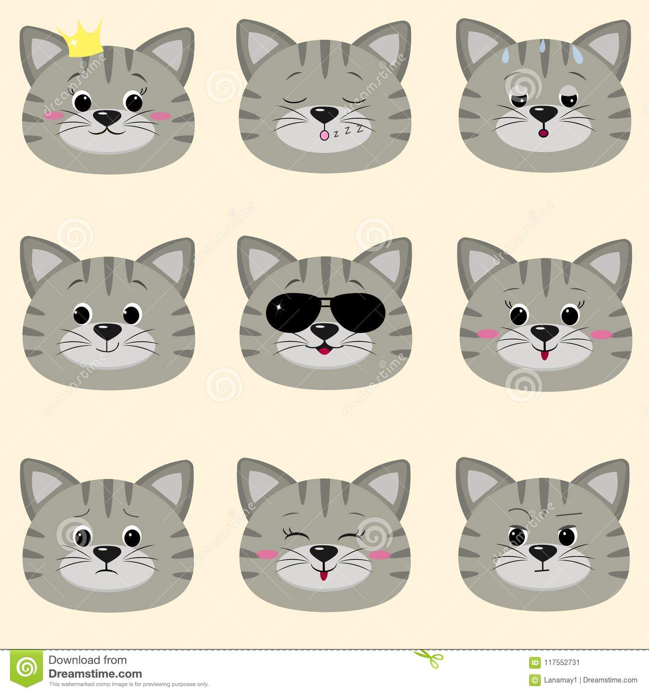 Set Of Cute Gray Cat Face With Different Emotions In Cartoon Style ...