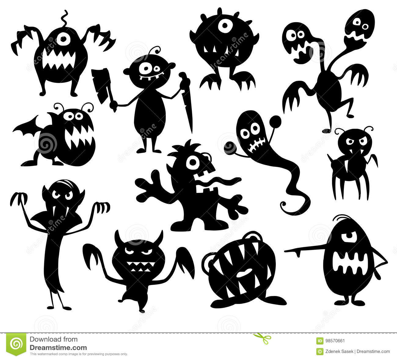 Halloween Movie Pumpkin Drawing.Set Of Cute Halloween Monster Silhouettes Stock Vector