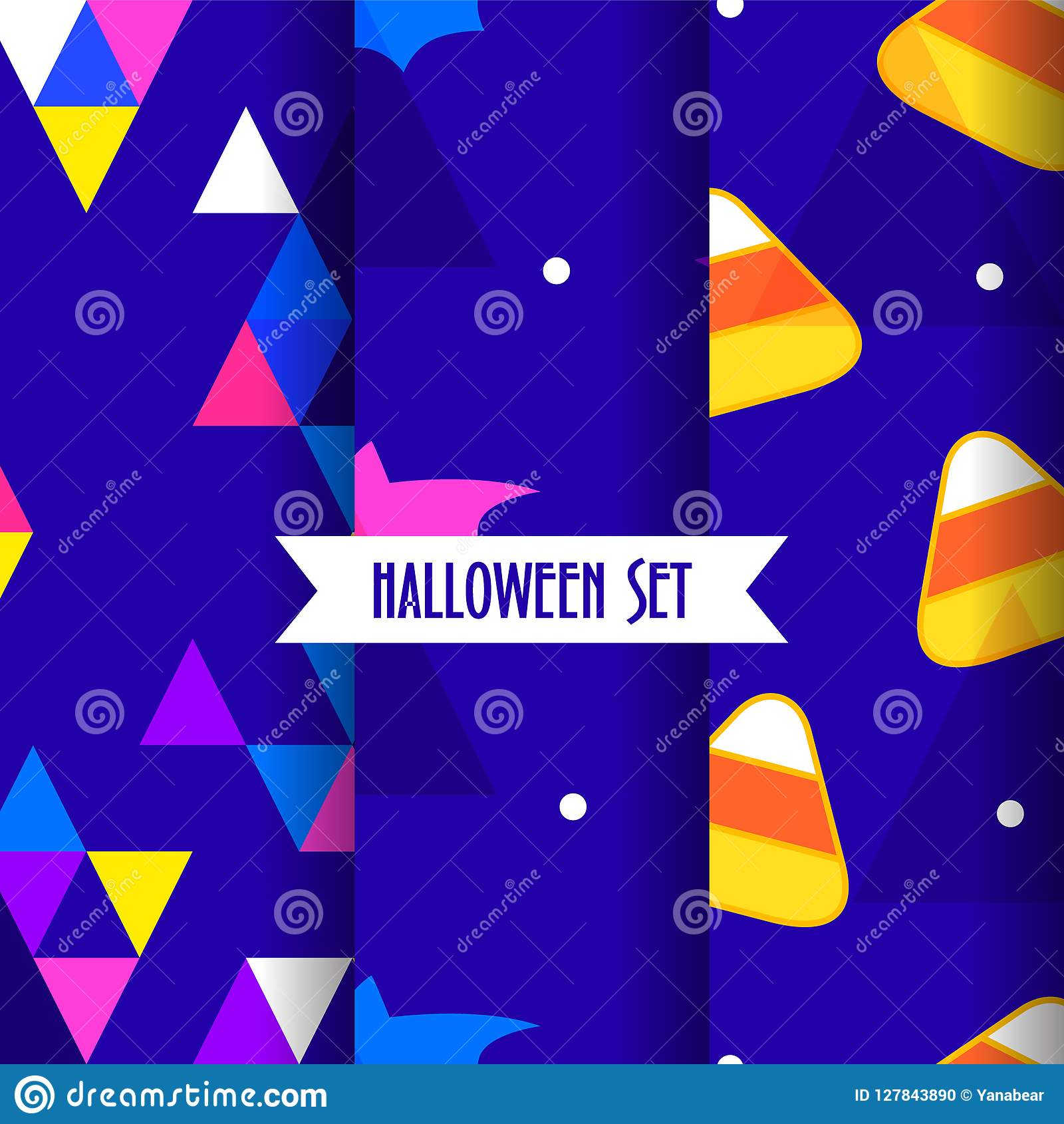 Set of cute halloween patterns with candy corns, bat and triangles on blue background.